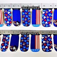 Blue Mickey Mouse Nail Sticker, 4th of July Mickey Mouse Nail wrap