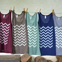 Tank Top  Coffee Brown with White Chevron by littleminnowdesigns
