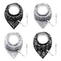 Black and White Geometric Bandana Bibs with Pacifier Holder (4 Pack)