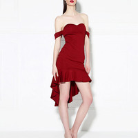 Wine Red Bare Shoulder Ruffled Tail Dress