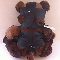 "Blindfolded ""Toxified"" Leather Bondage Teddy Bear - Genuine handmade leather fetish outfit"