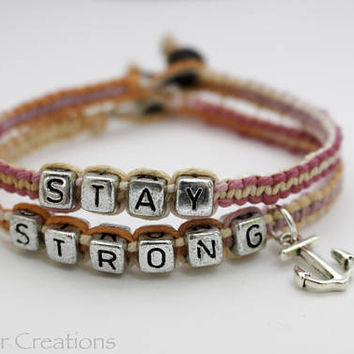 Stay Strong Bracelet Set with Silver Tone Anchor Charm, High Quality Sherbert Hemp Cord, Recovery Gift for Her Custom Sizes Available
