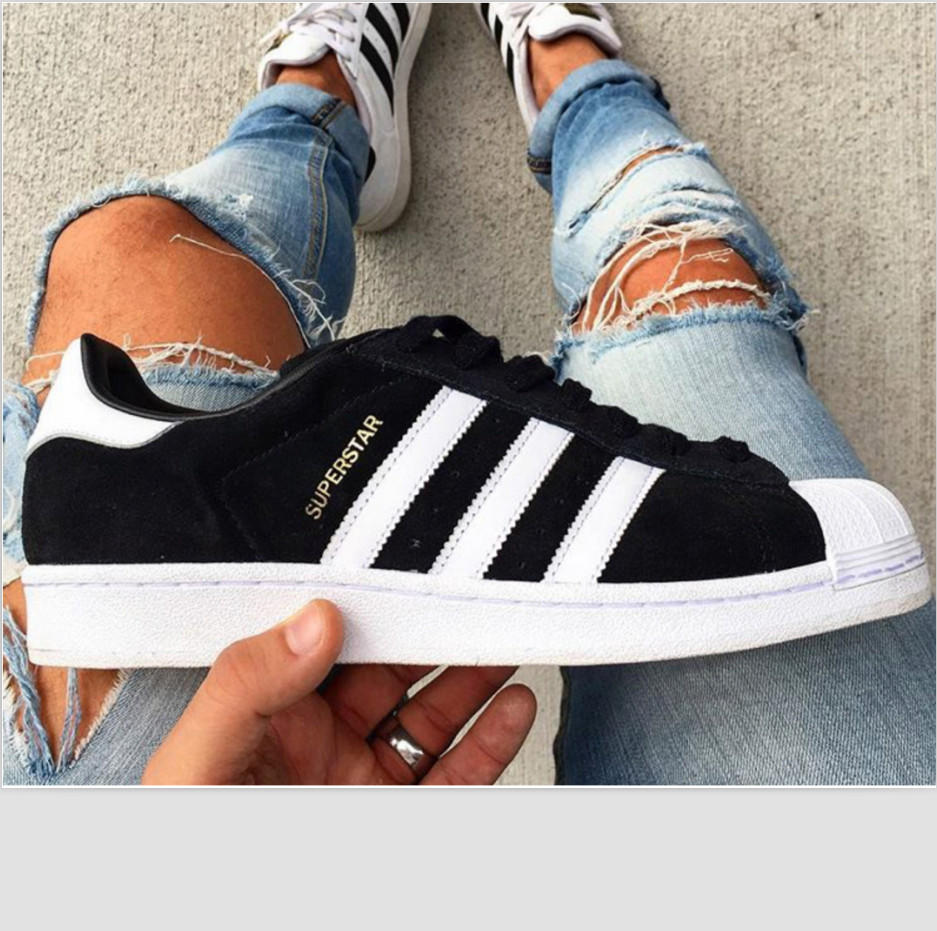 """Image of """"Adidas"""" Fashion Shell-toe Flats Sneakers Sport Shoes Black white"""
