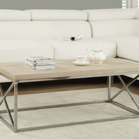 Coffee Table - Natural With Chrome Metal