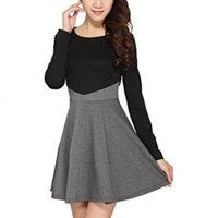 Beautifulmall Women's Spring Long Sleeves Slim Knit Cotton Pleated Mini Dress 22S