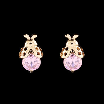 18K Gold Plated Ladybug CZ Stud Earrings Pink / Red ~High Quality