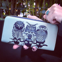 """Artist Designed Purse with credit card and zipper coin compartment """"Owls of the Nile"""" stylish, unique, colourful vegan leather purse"""
