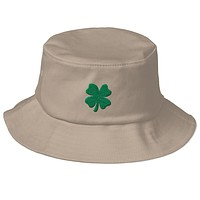 Four Leaf Clover Embroidered St. Patricks Day Old School Bucket Hat