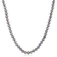 AuraPearl 14k Yellow Gold 6-7mm Dyed Black Freshwater Cultured Pearl AA Grade Necklace, 16""