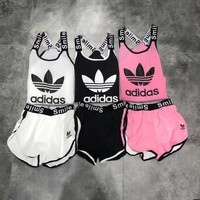 Adidas Fashion Women Casual Vest Shorts Coat Set Three-Piece Sportswear