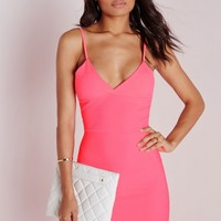 Missguided - Laser Cut Hem Bodycon Dress Pink