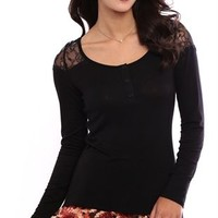Long Sleeve Henley Top with Lace Shoulders