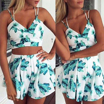 Green Floral Strappy Cropped Top High-Waist Shorts Set