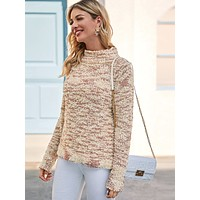 SHEIN Funnel Neck Boucle Knit Sweater