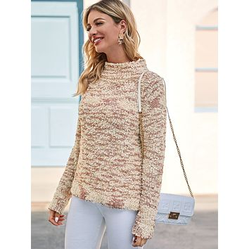 SHEINFunnel Neck Boucle Knit Sweater