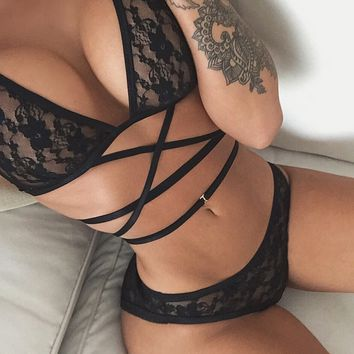 Transparent Straps Lace Lingerie