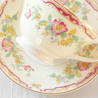 Vintage Cottage Style Tea Cup Set, Shabby Chic, Tea Party, French Farmhouse, Weddings, Bridal Luncheon Gift
