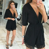 V-Neck Boho Romper with Lace Trim