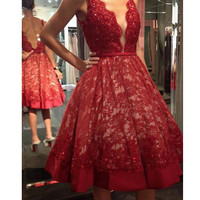 Homecoming Dress, Deep V-Neck Red Lace Homecoming Dress , Short Prom Dress