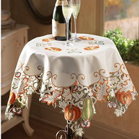 Fall Pumpkin Autumn Harvest Embroidery Scalloped Edges Decorative Table Square