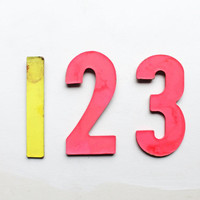 Vintage Signage, Neon Numbers, One Two Three, Hot Pink and Highlighter Yellow