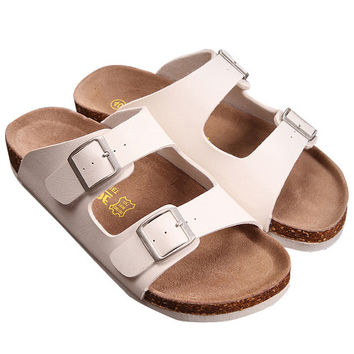 White Double Buckles Flat Sandals