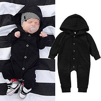 Hot Baby Boy Cotton Romper Cute Kids Hooded Clothes Toddler Black Jumpsuit Baby Girl Simple Outfits