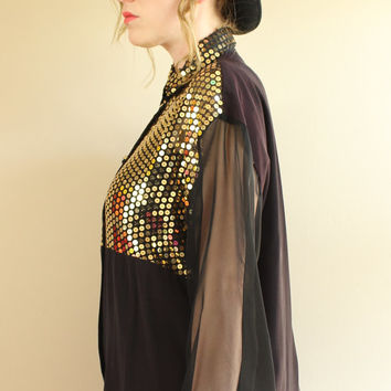 SALE - 80s / 90s - Gold Sequins - Black - Sheer Sleeves - Button Down - Collar Shirt