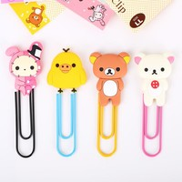 1 Pcs Cute Kawaii Paper Clip Lovely Bear Bookmarks Photo Clips For Decoration Supplies Office Stationery
