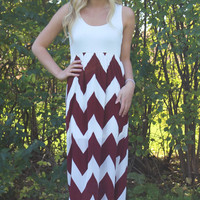 Show Time Chevron Maxi Dress - Maroon and White