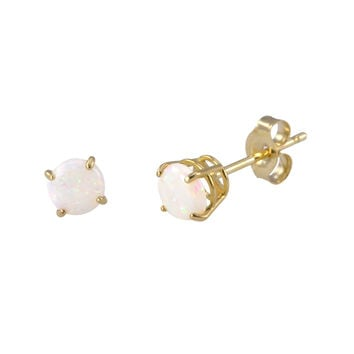 Opal Earrings October Birthstone Studs 14k Yellow Gold Basket Setting Round