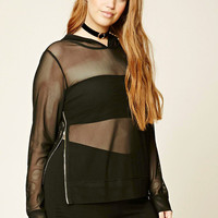 Plus Size Hooded Open-Mesh Top