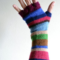 Multistriped Wool Gloves - Color Blocking Gloves  - Long Striped Gloves- Fall Accesories - Teens Gloves - Fashion Gloves nO. 73.
