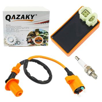 QAZAKY Performance AC CDI + Ignition Coil + Spark Plug A7TC GY6 50cc - 80cc 90cc 110cc 125cc 150cc 4-stroke Engines Scooter ATV Go Kart Moped Quad Go Kart Pit Dirt Racing Bike 139QMB 152QMI 157QMJ