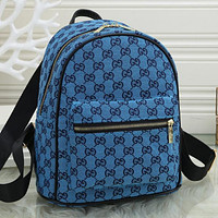 GG G Fully printed letters ladies shopping backpack school bag Daypack Blue