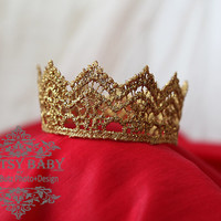 Princess or Prince various size crown Prop Baby adult teen Crown for photo shoots, theatre, proms, prop in Gold sparkle choose your size