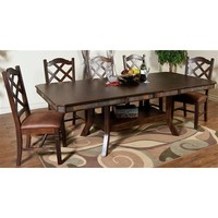 Sunny Designs Santa Fe Extension Table with Double Butterfly Leaf In Dark Chocolate