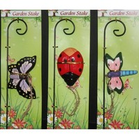 "Bug Design Plant Pick 10.5"" , (Butterfly, Dragonfly or Lady Bug)"