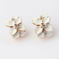 Gold Plated Earrings High Quality Gardenia Crystal Clip On Earring Fashion Costume Jewelry Earing for Women -03328