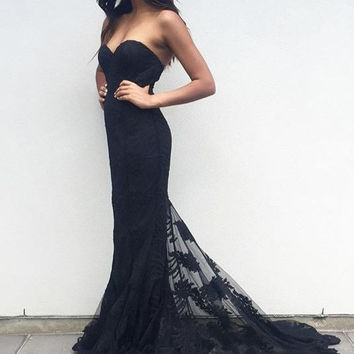 Lace Black Prom Dress with Train  Elegant Long Prom Dress