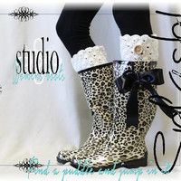 SPLASH- leopard cheetah print rain boots- wellies- wellingtons-tall rubber rain boots- boot with bow- muck boots -womens boots- ladies - RB2