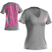 Under Armour Women's Power in Pink Camo Print V-Neck T-Shirt - Dick's Sporting Goods