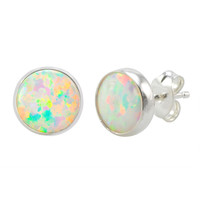 Sterling Silver White Opal Earring Studs 9mm Round