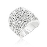 Cubic Zirconia Pave Abstract Ring, size : 09