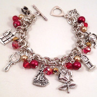 Disney Beauty And The Beast Inspired Charm Bracelet, Red Gold Beaded