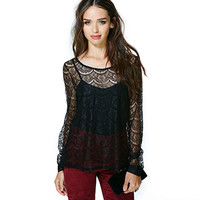 Black Halter Top with Lace Mesh  Low-High Cover-Up