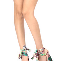 Rose Floral Faux Leather Ankle Tie Wedges