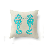 Nautical Pillow Cover, Aqua Seahorses on sand colored background, indoor or outdoor in 16 x 16, 18 x 18 or 20 x 20 inch