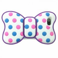 Lovely 3d Butterfly Bowknot Back Soft Silicone Pink and Blue Dot Purple Frame Case Cover for Iphone 5 5g 5th