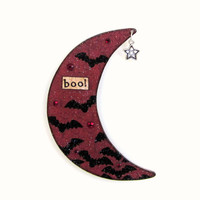 Halloween Decor Crescent Moon Magnet Halloween Fridge Refigerator Magnet Decoupaged Deep Red Black Bats Goth Decor